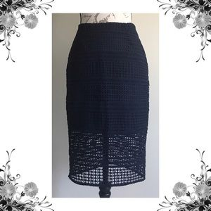 {Cupcakes and Cashmere} Navy Derry Pencil Skirt